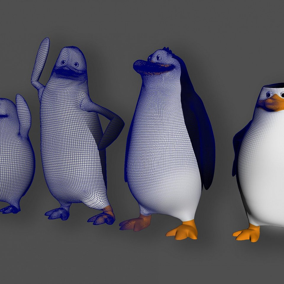 Penguins for 3D print