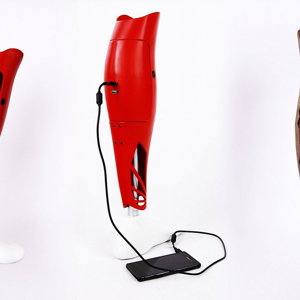 Prosthesis cover prints with power bank, or inside lights